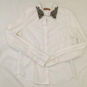 Ellen Tracy Beaded Collar Blouse